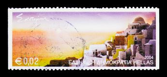 Santorini, Greek Islands serie, circa 2004. MOSCOW, RUSSIA - MARCH 18, 2018: A stamp printed in Greece shows Santorini, Greek Islands serie, circa 2004 royalty free stock photos