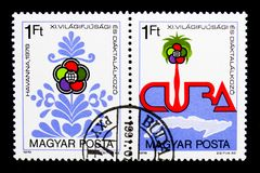 11th World Youth Festival, Havana, serie, circa 1978. MOSCOW, RUSSIA - MARCH 18, 2018: A stamp printed in Hungary shows 11th World Youth Festival, Havana, serie royalty free stock images