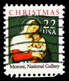 Moroni Madonna Gallery, Christmas 1987 serie, circa 1987. MOSCOW, RUSSIA - MARCH 23, 2019: A stamp printed in United States shows Moroni Madonna Gallery stock photography