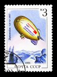 """Airship. MOSCOW, RUSSIA - MARCH 31, 2018: A stamp printed in USSR (Russia) shows Airship """"GA-42"""", 1987, Aviation serie, circa 1991 Royalty Free Stock Photos"""