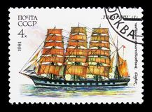 Four-masted barque Comrade, Cadet Sailing Fleet of the USSR se. MOSCOW, RUSSIA - MARCH 31, 2018: A stamp printed in USSR (Russia) shows Four-masted barque Stock Photography