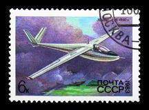 Glider A-15 (1960, Antonov), History of Soviet Gliders serie, ci. MOSCOW, RUSSIA - MARCH 31, 2018: A stamp printed in USSR (Russia) shows royalty free illustration