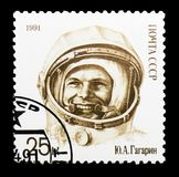 Yury Gagarin wearing space suit, 30th Anniversary of First Man i. MOSCOW, RUSSIA - MARCH 31, 2018: A stamp printed in USSR (Russia) shows  Yury Gagarin Stock Photos