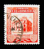 Main Post Office Caracas, serie, circa 1953. MOSCOW, RUSSIA - MARCH 18, 2018: A stamp printed in Venezuela shows Main Post Office Caracas, serie, circa 1953 royalty free stock photos