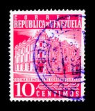 Main Post Office, Caracas, serie, circa 1958. MOSCOW, RUSSIA - MARCH 18, 2018: A stamp printed in Venezuela shows Main Post Office, Caracas, serie, circa 1958 royalty free stock photography