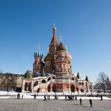 MOSCOW, RUSSIA - MARCH 28, 2013: Tourists walk on the red square Stock Image