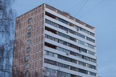MOSCOW, RUSSIA - MARCH 20, 2018:A twelve-story residential building in Moscow with decorative panels replaced on the balconies. MOSCOW, RUSSIA - MARCH 20, 2018 stock photography