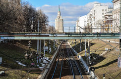 Moscow, Russia - March 14, 2016. View on railway tracks, Starobasmanny overpass and hotel Leningradskaya Royalty Free Stock Image