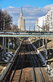 Moscow, Russia - March 14, 2016. View on railway tracks, Starobasmanny overpass and hotel Leningradskaya Stock Photography
