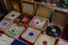 Moscow, Russia - March 19, 2017: Vinyl records for gramophone of different music styles at a flea market Royalty Free Stock Photos