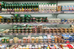 Moscow, Russia - March 18.2017. Yogurts and milk desserts in store products Azbuka Vkusa in Zelenograd Stock Photo