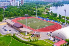 Moscow, Russia, May 2018: Aerial view of a football stadium. In the city park editorial Stock Photo