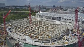 MOSCOW, RUSSIA - MAY, 19, 2017. Aerial view of football stadium Dinamo or VTB Arena construction site. MOSCOW, RUSSIA - MAY, 19, 2017. Aerial shot of football Royalty Free Stock Photos