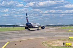 Airplane of Aeroflot airline on runway ready for start. Sheremetyevo airport, Moscow stock images