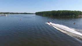 Moscow, Russia - May 15, 2018 amphibious vehicle, watercar panther, red car, swimming on the river by car stock video footage