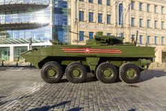 Armored personnel carrier Boomerang on parade festivities devoted to 72 anniversary of Victory Day. MOSCOW, RUSSIA - MAY 09, 2017:armored personnel carrier Stock Image