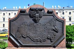 Moscow, Russia - May 21, 2018. Bas-relief with map of railway stations of Russia on Komsomolskaya Square. Moscow, Russia - May 21, 2018. Bas-relief with a map of stock image