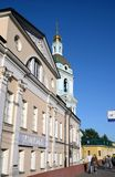 The bell tower of the Church of the Trinity in Silversmiths in Moscow. Royalty Free Stock Image