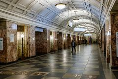 Moscow, Russia 26 may 2019 Belorusskaya metro station near Belorussky railway station. Beautiful lobby with marble columns, stock images