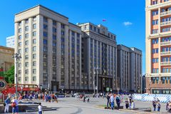 Moscow, Russia - May 27, 2018: Building of State Duma of Russian Federation on a blue sky background in sunny evening royalty free stock photo