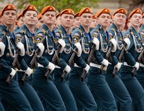 Cadets of the Civil Defense Academy of the Ministry of Emergency Situations of Russia during the dress rehearsal of the parade. MOSCOW, RUSSIA MAY 6, 2018 stock photo
