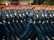 Cadets of the Civil Defense Academy of the Ministry of Emergency Situations of Russia during the dress rehearsal of the parade. MOSCOW, RUSSIA MAY 6, 2018 stock image