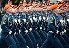Cadets of the Civil Defense Academy of the Ministry of Emergency Situations of Russia during the dress rehearsal of the parade. MOSCOW, RUSSIA MAY 6, 2018 stock photography