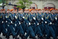 Cadets of the Civil Defense Academy of the Ministry of Emergency Situations of Russia during the dress rehearsal of the parade. MOSCOW, RUSSIA MAY 6, 2018 stock photos