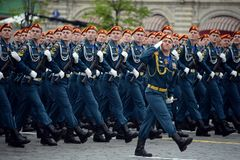 Cadets of the Civil Defense Academy of the Ministry of Emergency Situations of Russia during the dress rehearsal of the parade. MOSCOW, RUSSIA MAY 6, 2018 royalty free stock photos