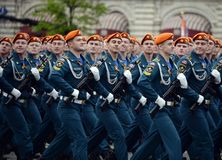 Cadets of the Civil Defense Academy of the Ministry of Emergency Situations of Russia during the dress rehearsal of the parade. MOSCOW, RUSSIA MAY 6, 2018 royalty free stock photo