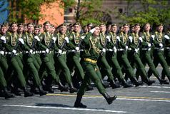 Cadets of the Military Academy of Radiation, Chemical and Biological Defense at the parade dedicated to the Victory Day. Stock Photos