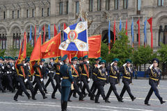 Moscow, Russia - may 09, 2008: celebration of Victory Day WWII parade on red square. Solemn passage of military equipment, flying Stock Image