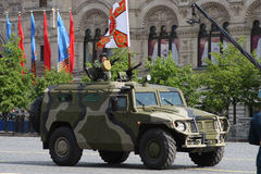 Moscow, Russia - may 09, 2008: celebration of Victory Day WWII parade on red square. Solemn passage of military equipment, flying Royalty Free Stock Photo