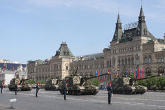 Moscow, Russia - may 09, 2008: celebration of Victory Day WWII parade on red square. Solemn passage of military equipment, flying Stock Photo
