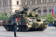Moscow, Russia - may 09, 2008: celebration of Victory Day WWII parade on red square. Solemn passage of military equipment, flying Stock Photography