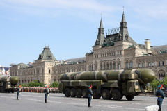 Moscow, Russia - may 09, 2008: celebration of Victory Day WWII parade on red square. Solemn passage of military equipment, flying Royalty Free Stock Image