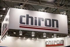 Chiron logo sign banner. Chiron is a German manufacturing company of vertical machining centers. Moscow, Russia - May, 2017: Chiron logo sign banner. Chiron is a Royalty Free Stock Photos