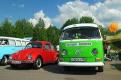 MOSCOW, RUSSIA - MAY 28, 2016: Classic Volkswagen Beetle and Volkswagen Transporter T2 at the VW Car Festival. MOSCOW, RUSSIA - MAY 28, 2016: Classic Volkswagen Royalty Free Stock Photos