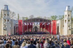 Moscow, RUSSIA - MAY 9, 2015. Concert in the Green Theatre at VDNKh royalty free stock photo