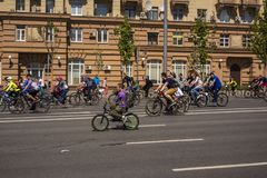 Moscow. Russia. 19 may 2019. Moscow Cycling festival 2019. Cyclist during the trip takes the camera stock images