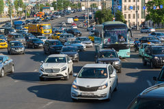 Moscow, Russia -May 14.2016. Dense traffic on one of the central streets Royalty Free Stock Images