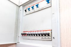 Moscow, Russia - May 07, 2019: Electrical shield with automatic switches of electricity in the house - electricity control panel. With circuit breakers royalty free stock images