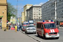 Moscow, Russia, May, 19, 2017. Events associated with the detection of abandoned package on Krasnoprudnaya street, Moscow Stock Photos