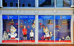 Facade of official FIFA World Cup 2018 shop, Moscow Stock Image