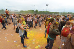 MOSCOW, RUSSIA - MAY 23, 2015: Festival of colors Holi in the Luzhniki Stadium. Roots of this fest are in India, where it called H Royalty Free Stock Photos