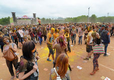MOSCOW, RUSSIA - MAY 23, 2015: Festival of colors Holi in the Luzhniki Stadium. Roots of this fest are in India, where it called H Royalty Free Stock Photo