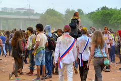MOSCOW, RUSSIA - MAY 23, 2015: Festival of colors Holi in the Luzhniki Stadium. Roots of this fest are in India, where it called H Stock Image