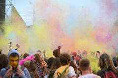 MOSCOW, RUSSIA - MAY 23, 2015: Festival of colors Holi in the Luzhniki Stadium. Roots of this fest are in India, where it called H Stock Photography