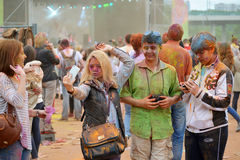 MOSCOW, RUSSIA - MAY 23, 2015: Festival of colors Holi in the Luzhniki Stadium. Roots of this fest are in India, where it called H Stock Images