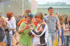 MOSCOW, RUSSIA - MAY 23, 2015: Festival of colors Holi in the Luzhniki Stadium. Roots of this fest are in India, where it called H Stock Photo